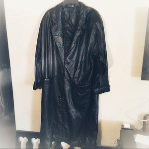 Jaqueline Ferrar Black Leather Trench Coat, Sz 2X